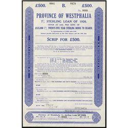 Province of Westphalia, 1926, Specimen Bond.