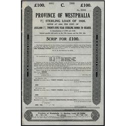 Province Of Westphalia, 7% Sterling Loan of 1926 Specimen Bond Scrip.