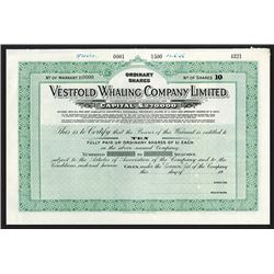 Vestfold Whaling Co. Ltd. 1936 Specimen.