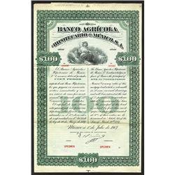 Banco Agricola e Hipotecario de Mexico. 1907.