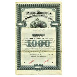 Banco Agricola Hipotecario de Mexico, S.A., 1907 Specimen Bond