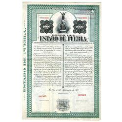 Bonos del Estado de Puebla, 1907 Specimen Bond