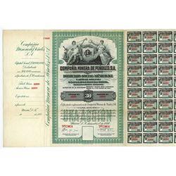 Compania Minera De Penoles, S.A. 1920 Specimen Share Certificate.
