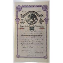 Estados Unidos Mexicanos, Bono De La Deuda Bancaria, 1930 Coupon Bond.
