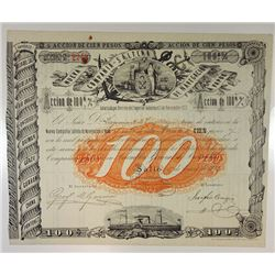 Nueva Compania-Saltena de Navegacion a Vapor, 1872 Issued Share Certificate.