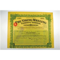 Viking Whaling Company Limited, 1938 Share Certificate.