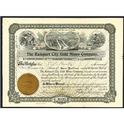 Rampart City Gold Mines Co., 1902 Issued Alaska Mining Stock Certificate.