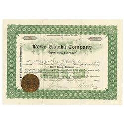 Rowe Alaska Co. 1904 issued Stock Certificate.