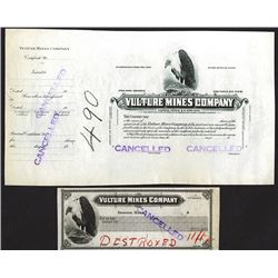 Vulture Mining Co. ca.1900 Proof Stock Certificate and Proof Check.