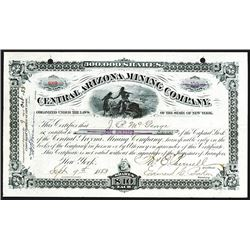 Central Arizona Mining Co., 1883 Stock Certificate.