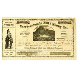 Cerro-Colorado Mill & Mining Co. 1876 Stock Certificate.