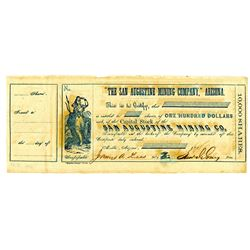 San Augustine Mining Co., ca.1861-62, Partially Issued Certificate Signed b y 2 Officers Appointed b