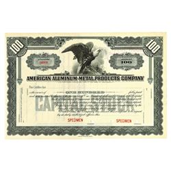 American Aluminum-Metal Products Co., ca.1930-1940 Specimen Stock Certificate
