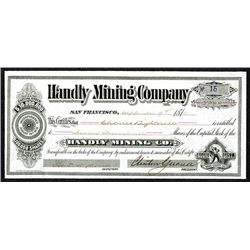 Handly Mining Co. 1878 Bodie Mining district Stock Certificate.
