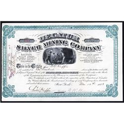 Decatur Silver Mining Co. 1883 Stock Certificate.