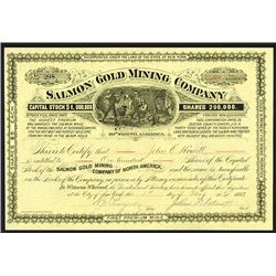 Salmon Gold Mining Co.1882 Stock Certificate.