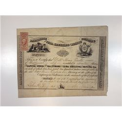 Baltimore & Cuba Smelting & Mining Co., 1863 Issued Stock Certificate