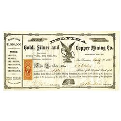 Delfina Gold, Silver and Copper Mining Co., 1863 Stock Certificate.