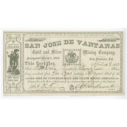 San Jose De Vantanas, 1863 issued Stock Certificate.
