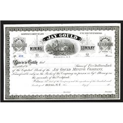 Jay Gould Mining Co. MT Territory. 1860-70s Remainder Stock Certificate.