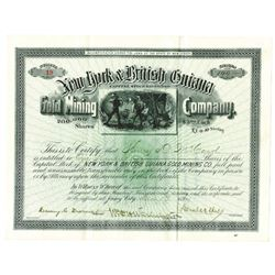 New York and British Guiana Gold Mining Co., 1894 Issued Stock Certificate