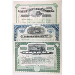 Mining Related Stock Certificate Assortment, ca.1928-1958
