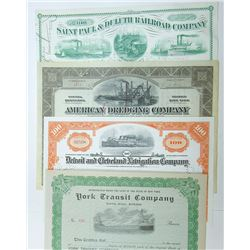 Navigation and Railroad Stock and Bond Certificate Quartet, ca.1899-1950