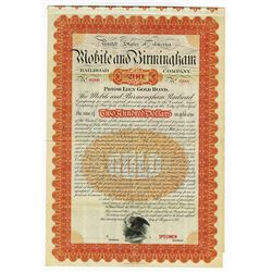 Mobile and Birmingham Railroad Co., 1895 Specimen Bond