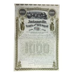Jacksonville, Tampa and Key-West Railway Co. 1890 Issued Bond.