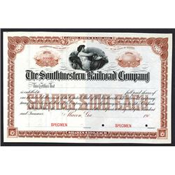Southwestern Railroad Co., 1900-1910 Specimen Stock Certificate.
