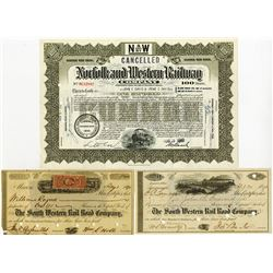 Trio of South Western Rail Road Co. & Norfolk & western Railway Co. Bonds ca.1871-1940