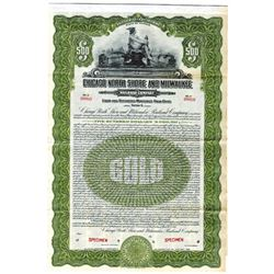 Chicago North Shore and Milwaukee Railroad Co., 1926 Specimen Bond