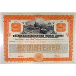 Chicago, Burlington & Quincy Railroad Co., 1921 Specimen Bond