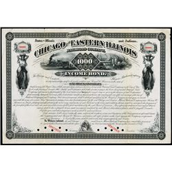 Chicago and Eastern Illinois Railroad Co. 1877 Specimen Bond.