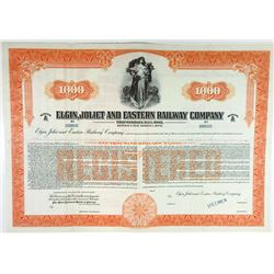 Elgin, Joliet & Eastern Railway Co, 1950s $1,000 Registered 3 1/4% Specimen Bond