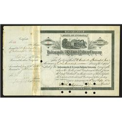 Indianapolis & St. Louis Railway Co., 1882 Stock Certificate signed by T.A. Hendricks.