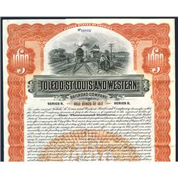 Toledo, St. Louis and Western Railroad Co. 1907. Specimen Bond.