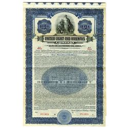 United Light and Railway Co., 1923 Specimen Bond