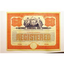 Detroit Terminal & Tunnel Co., 1911 Specimen Registered Bond.