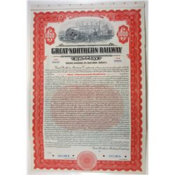 Great Northern Railway Co 1923 Specimen $1000 5% Ser.C Gold Coup Bond XF ABN Red