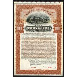 Warren Railroad Co., 1900 Specimen Bond