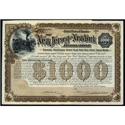 New Jersey and New York Railroad Co., 1892 Issued Bond.