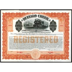 Buffalo Creek Railroad Co. 1910 Specimen Registered Bond.