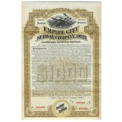 Empire City Subway Co., 1892, $1000 Specimen Bond.