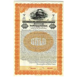 Greenwich and Johnsonville Railway, 1923 Specimen Gold Coupon Bond.