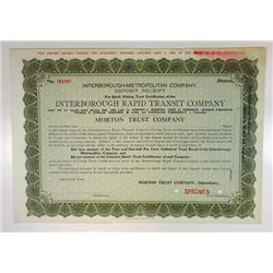 Interborough Rapid Transit Co., 1906 Specimen Voting Trust Certificate