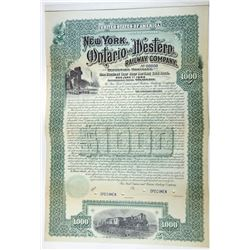 New York, Ontario & Western Railway Co. 1892 Specimen Gold Coupon Bond.