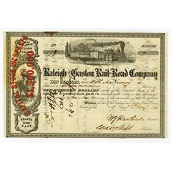 Raleigh and Gaston Rail-Road Co., 1861, I/C Stock Certificate.