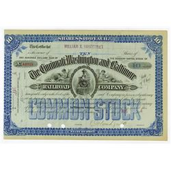 Cincinnati, Washington and Baltimore Railroad Co., 1884 I/C Stock Certificate Issued to William K. V