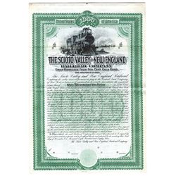 Scioto Valley and New England Railroad Co., 1889 Specimen Bond